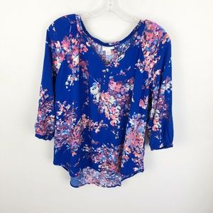 St Johns Bay Floral Blouse Multi Color V Neck